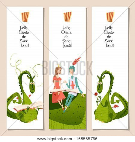 Set of universal bookmarks with princess knight and dragons. Diada de Sant Jordi (the Saint George's Day). Congratulations. Template. Vector illustration