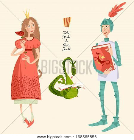 Princess with a rose knight with a book and dragon reading a book.Diada de Saint Jordi (the Saint George's Day). Dia de la rosa (The Day of the Rose). Dia del llibre (The Day of the Book). Traditional festival in Catalonia Spain. Vector illustration.