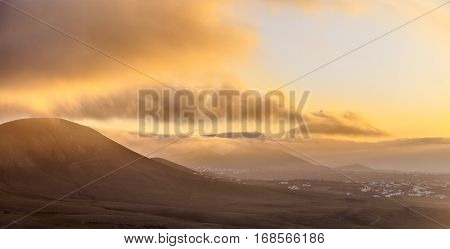 Sunrise In Femes With Extinguished Volcanoes