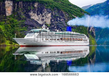 Cruise Ship, Cruise Liners On Geiranger fjord, Norway