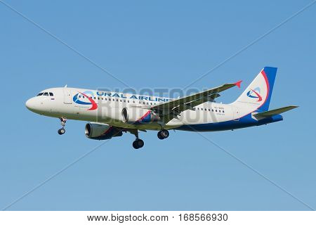 SAINT PETERSBURG, RUSSIA - AUGUST 24, 2016: Flying the Airbus A320 (VQ-BQN) of airline
