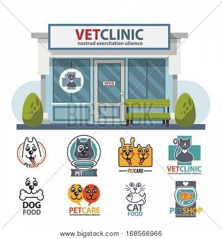 Veterinary medicine hospital, clinic or pet shop for animals. Vet or veterinarian clinic. Health care or treatment for wild or domestic animals. Facade exterior view with vet logo badge collection set