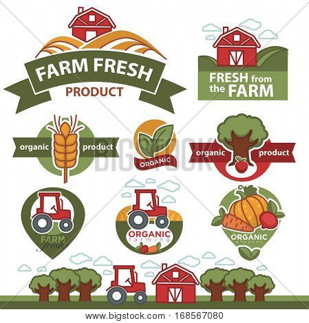 Set of labels for farm market premium products. Signs of organic, fresh and natural farmer food. Quality and healthy symbols. Agriculture, farming badge, emblems or logo. Flat vector icons