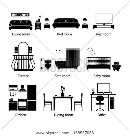 Set of home room types. Thin line style. Furniture in house. Vector icons living, restroom, kitchen, dining, office, terace bathroom bedroom and baby Illustrations