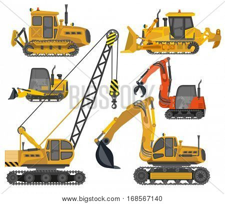Icons set of heavy construction machinery. Industrial equipment, machine: bulldozer, crane, tractor and excavator. Vector illustrations isolated on white background. Flat design.