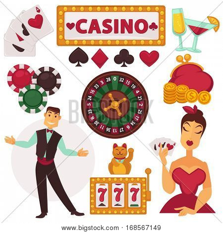 Icons set of play in casino. Gambling and luck symbols: poker and roulette wheel, money, jackpot and chance, playing card, chips and dealer. Cartoon vector illustrations isolated on white.