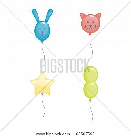 Color glossy various shaped balloons vector illustration. Round entertainment holiday festival happy gift. Beautiful toy party day celebrate, isolated helium color carnival tool.