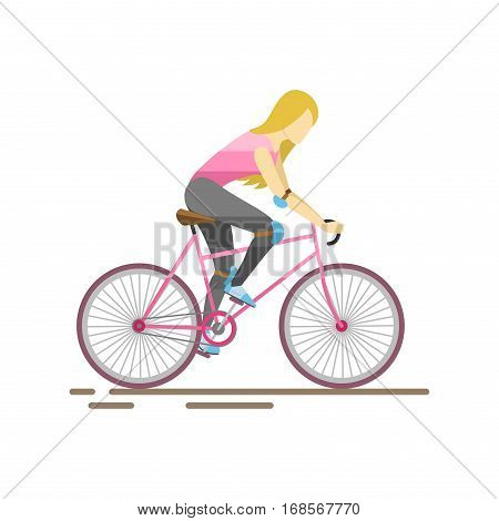 Racing cyclist in action fast road biker from side front view vector illustration. Athlete sport competition motion summer rider character. Fitness pedal transport.