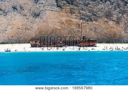 Navagio Shipwreck Beach in Zante Zakynthos Greece , picture taken in 19.07.2015