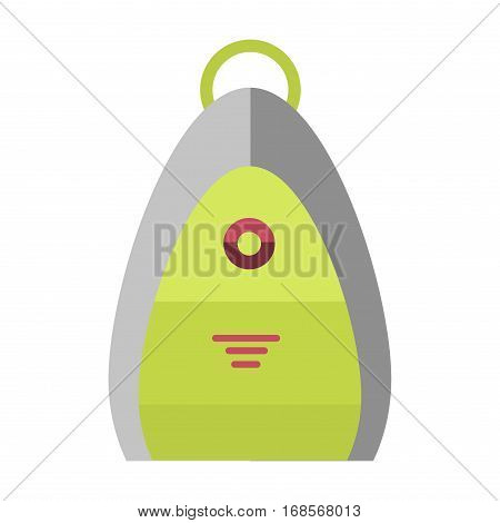 Kids school bag isolated on white background. Cartoon style backpack handle strap sack, textile rucksack equipment. Educational full adventure vector.