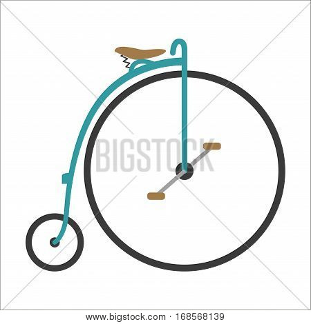 Vintage retro circus bicycle and style antique sport old fashion grunge flat pedal ride vector. Riding bike transport illustration. Healthy lifestyle vehicle.