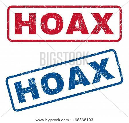 Hoax text rubber seal stamp watermarks. Vector style is blue and red ink caption inside rounded rectangular banner. Grunge design and dirty texture. Blue and red stickers.