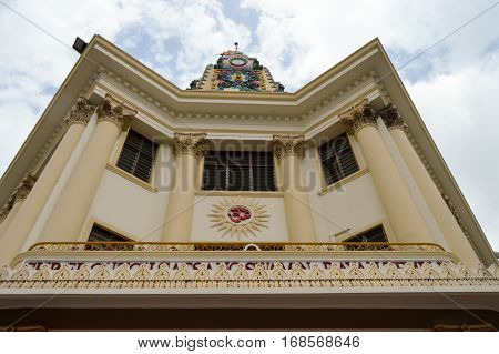 Front facade of an Indian temple in Mombasa Kenya