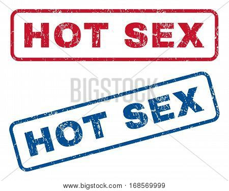 Hot Sex text rubber seal stamp watermarks. Vector style is blue and red ink caption inside rounded rectangular shape. Grunge design and dust texture. Blue and red signs.