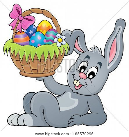 Bunny holding Easter basket theme 5 - eps10 vector illustration.