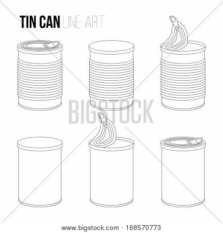 Tincan, canned food line art icons isolated on white background. Outlines objects, contour vector Metal or Plastic Tin Can.