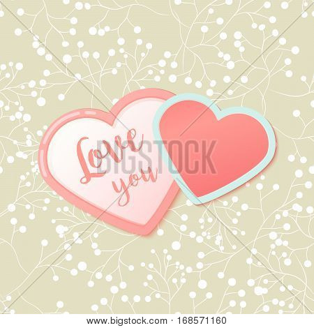 Pink hearts with watercolor style strokes and drops. Valentines Day Greeting Banner isolated on white background. Romantic Lovely Frame card design template for Mothers Day.
