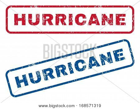 Hurricane text rubber seal stamp watermarks. Vector style is blue and red ink tag inside rounded rectangular banner. Grunge design and dust texture. Blue and red emblems.