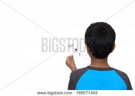 kid holding playing cards on a light background