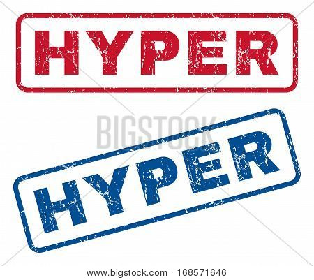 Hyper text rubber seal stamp watermarks. Vector style is blue and red ink caption inside rounded rectangular shape. Grunge design and scratched texture. Blue and red emblems.