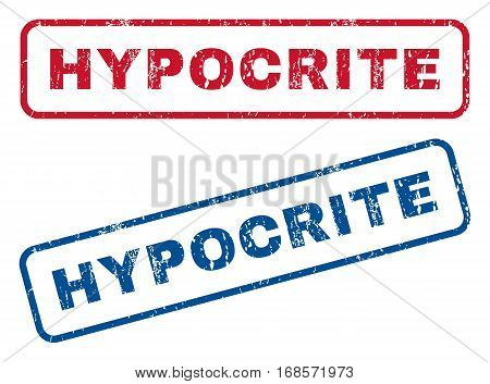 Hypocrite text rubber seal stamp watermarks. Vector style is blue and red ink caption inside rounded rectangular shape. Grunge design and dust texture. Blue and red emblems.