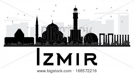 Izmir City skyline black and white silhouette. Simple flat illustration for tourism presentation, banner, placard or web site. Business travel concept. Cityscape with landmarks