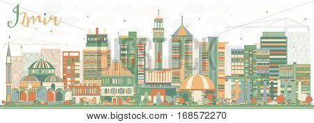 Abstract Izmir Skyline with Color Buildings. Vector Illustration. Business Travel and Tourism Concept with Historic Architecture. Image for Presentation Banner Placard and Web Site.