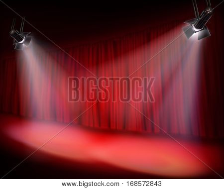 The Stage with red curtain. Vector illustration.