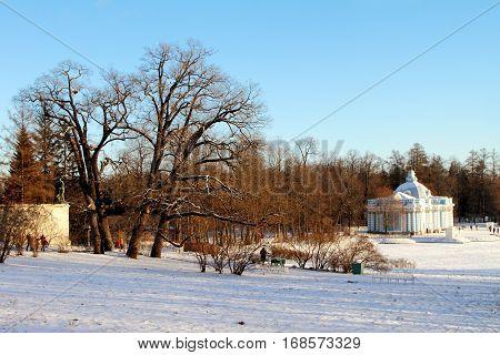 TSARSKOYE SELO (PUSHKIN) RUSSIA - JANUARY 04 2017: Catherine Park in Pushkin suburb of Saint Petersburg