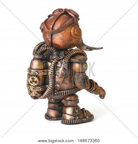 Steampunk robot. Rabbit egg tool. Cyberpunk style. Chrome and bronze parts. Isolated on white.