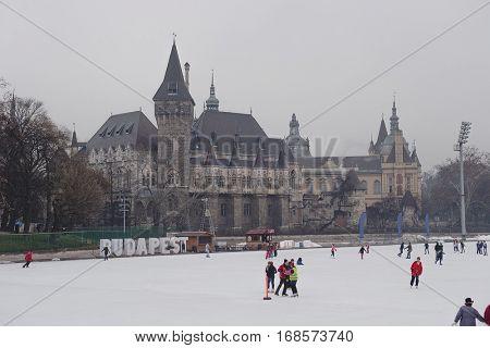 BUDAPEST HUNGARY - February 21 2014: People on ice skating rink near the Vajdahunyad Castle. Budapest Hungary