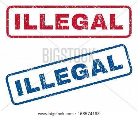 Illegal text rubber seal stamp watermarks. Vector style is blue and red ink tag inside rounded rectangular banner. Grunge design and unclean texture. Blue and red emblems.