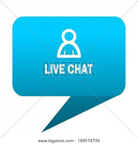 live chat blue bubble icon