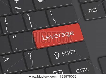 A 3D illustration of the word Leverage written on a red key from the keyboard