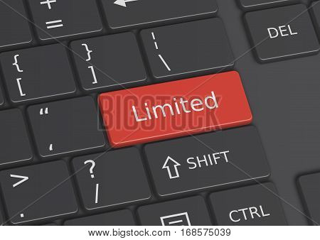 A 3D illustration of the word Limited written on a red key from the keyboard