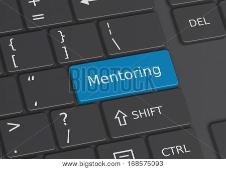 A 3D illustration of the word Mentoring written on a blue key from the keyboard