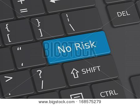 A 3D illustration of the words No Risk written on a blue key from the keyboard