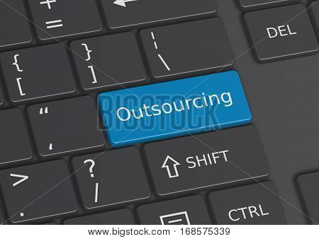 A 3D illustration of the word Outsourcing written on a blue key from the keyboard