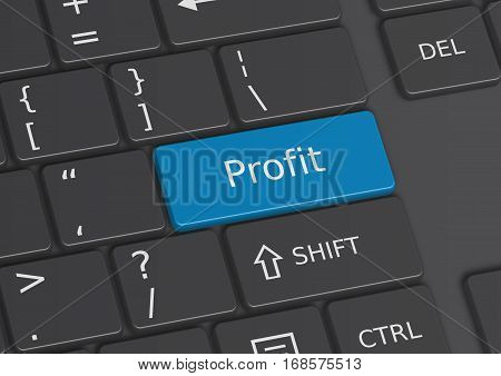 A 3D illustration of the word Profit written on a blue key from the keyboard