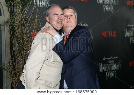 NEW YORK-JAN 11: Director Barry Sonnenfeld (L) and Author Daniel Handler attend the world premiere of NETFLIX's Lemony Snicket's