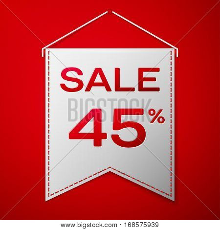 Grey pennant with inscription sale forty five percent Discounts over a red background. Sale concept for shops store market, web and other commerce. Vector illustration.