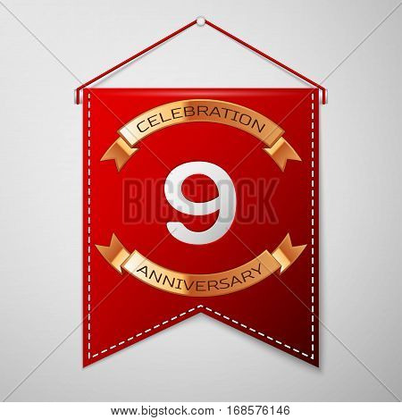 Red pennant with inscription Nine Years Anniversary Celebration Design over a grey background. Golden ribbon. Colorful template elements for your birthday party. Vector illustration