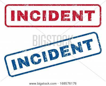 Incident text rubber seal stamp watermarks. Vector style is blue and red ink caption inside rounded rectangular banner. Grunge design and scratched texture. Blue and red stickers.