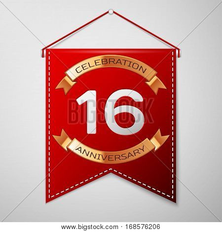 Red pennant with inscription Sixteen Years Anniversary Celebration Design over a grey background. Golden ribbon. Colorful template elements for your birthday party. Vector illustration