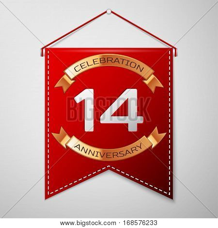 Red pennant with inscription Fourteen Years Anniversary Celebration Design over a grey background. Golden ribbon. Colorful template elements for your birthday party. Vector illustration