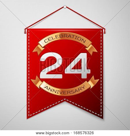 Red pennant with inscription Twenty four Years Anniversary Celebration Design over a grey background. Golden ribbon. Colorful template elements for your birthday party. Vector illustration
