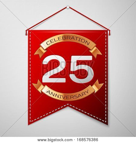 Red pennant with inscription Twenty five Years Anniversary Celebration Design over a grey background. Golden ribbon. Colorful template elements for your birthday party. Vector illustration