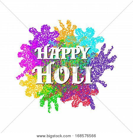 Vivid colorful background and text Happy Holi for Indian spring festival. Festive design with colored particles. Bright multicolor surface for posters banners flyers cards invitations etc