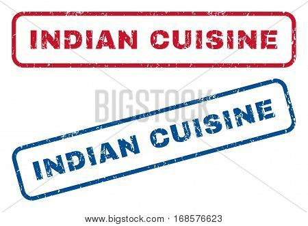 Indian Cuisine text rubber seal stamp watermarks. Vector style is blue and red ink caption inside rounded rectangular shape. Grunge design and dust texture. Blue and red signs.