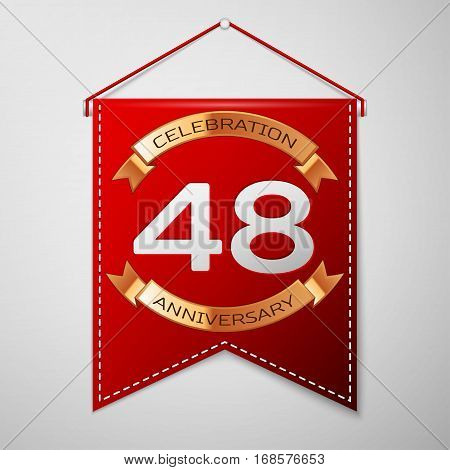 Red pennant with inscription Forty eight Years Anniversary Celebration Design over a grey background. Golden ribbon. Colorful template elements for your birthday party. Vector illustration